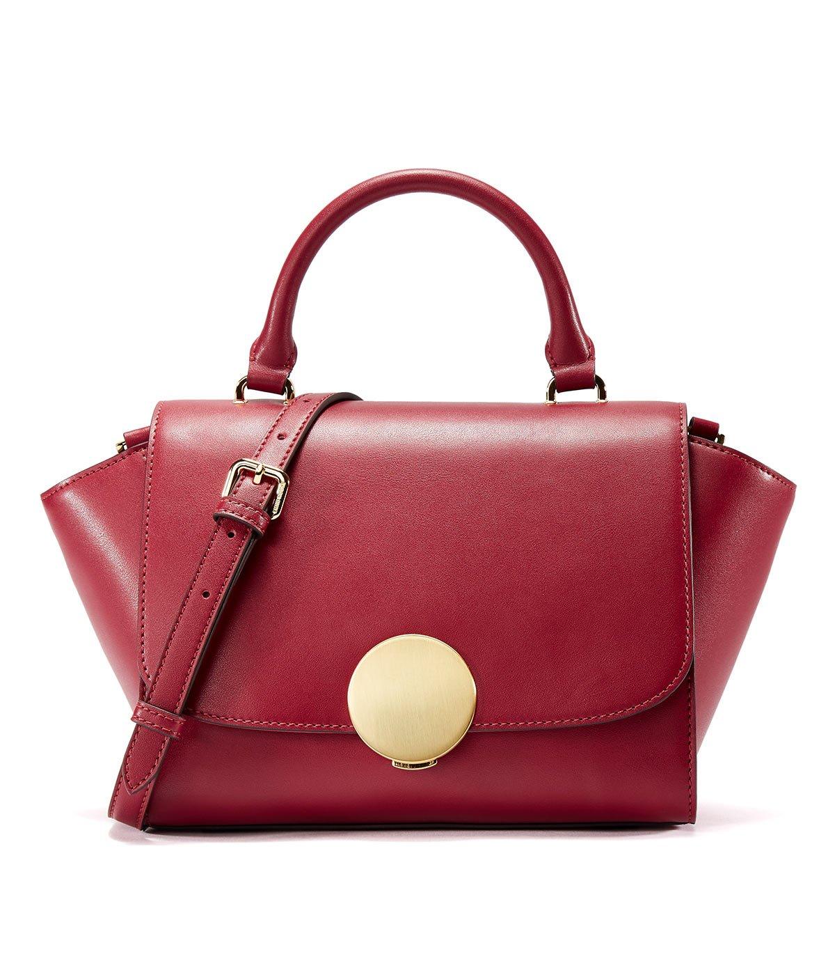 EMINI HOUSE Vintage Trapeze Bag with Round Hardware Closure Women Handbag-wine red