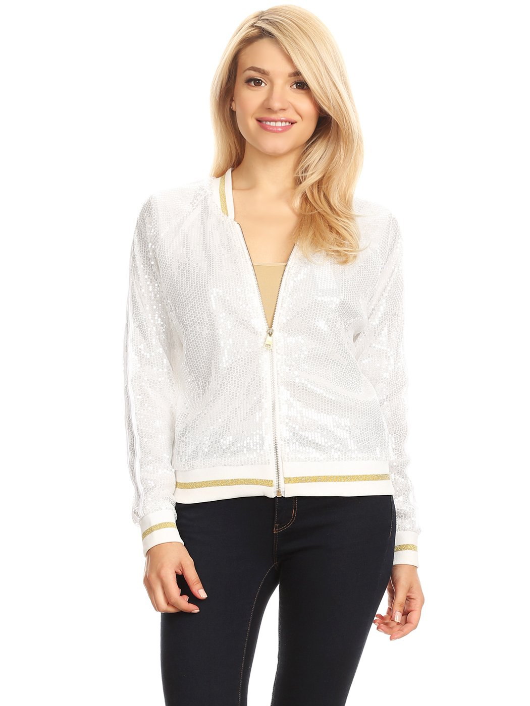 Anna-Kaci Womens Long Sleeve Front Zip Track Stripe Sequin Bomber Jacket, White, X-Large