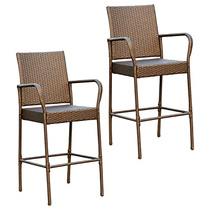 Victoria Young Full Seat Barstool, Set Of 2 Patio Furniture Chair Set,  Rattan Wicker