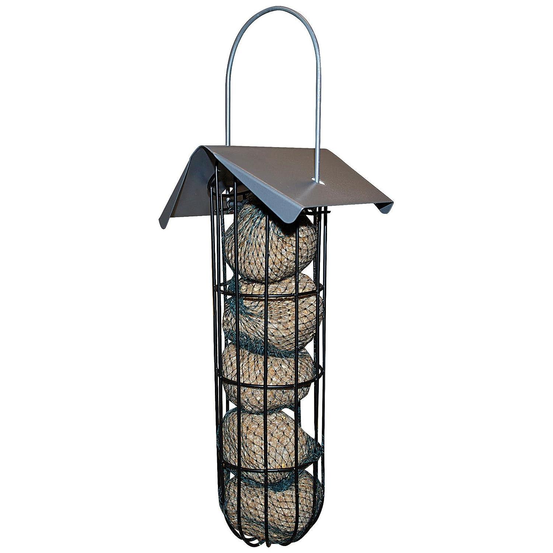 Vogelfutterstation 25 cm Futterspender für Meisenknödel Vogelhaus zum Hängen aus Metall - mit Dach und Halterung Powerpreise24