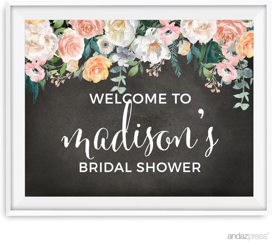 Andaz Press Peach Chalkboard Floral Garden Party Wedding Collection, Personalized Party Signs, Welcome to Madison's Bridal Shower Sign, 8.5x11-inch, 1-Pack, Custom Made Any Name