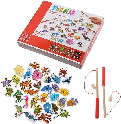 Only 32pcs Jeu De Peche Magnetique Puzzle En Bois Puzzle Jeu De Peche A La Ligne En Bois Magnetiques Bebe Enfant 2 3 Ans Pour Jouets Prescolaires Jouets Educatifs Amazon Fr Cuisine