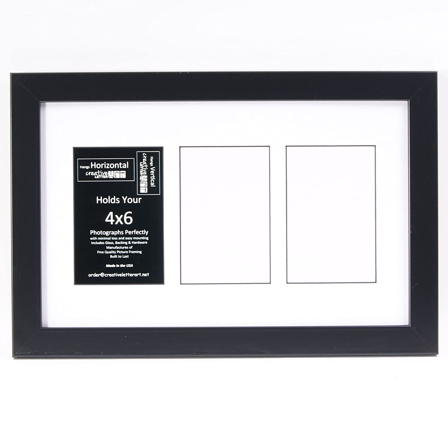 Amazon creativeletterart 8x10bk w 2 opening glass face amazon creativeletterart 8x10bk w 2 opening glass face black picture frame holds 4x6 media with white collage mat home kitchen jeuxipadfo Gallery
