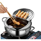 Deep Fryer Pot, Japanese Tempura Small Deep Fryer Stainless Steel Frying Pot With Thermometer,Lid And Oil Drip Drainer Rack f