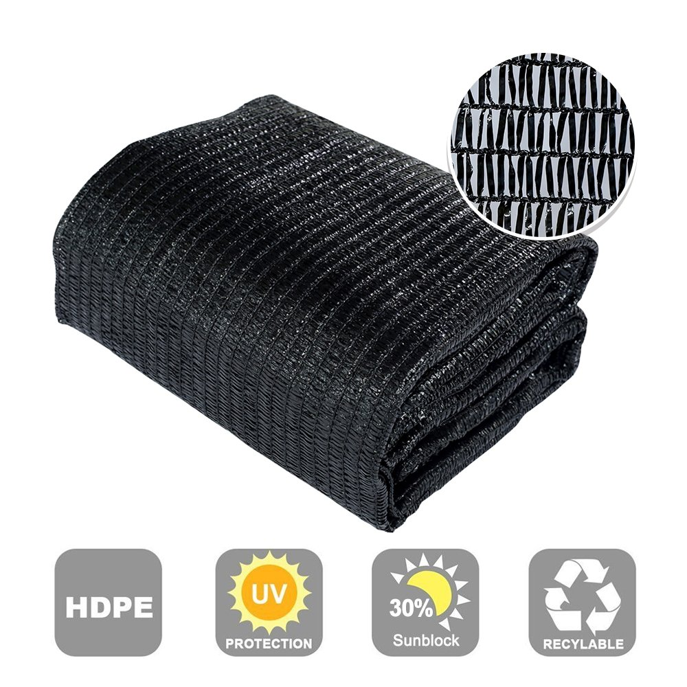 Agfabric 30% Sunblock Shade Cloth Cover with Clips for Plants 10' X 30', Black