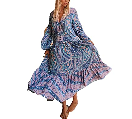 bb8e272f11ccc better-caress Bohemian Inspired Mixed Floral Print Summer Dress Long ...