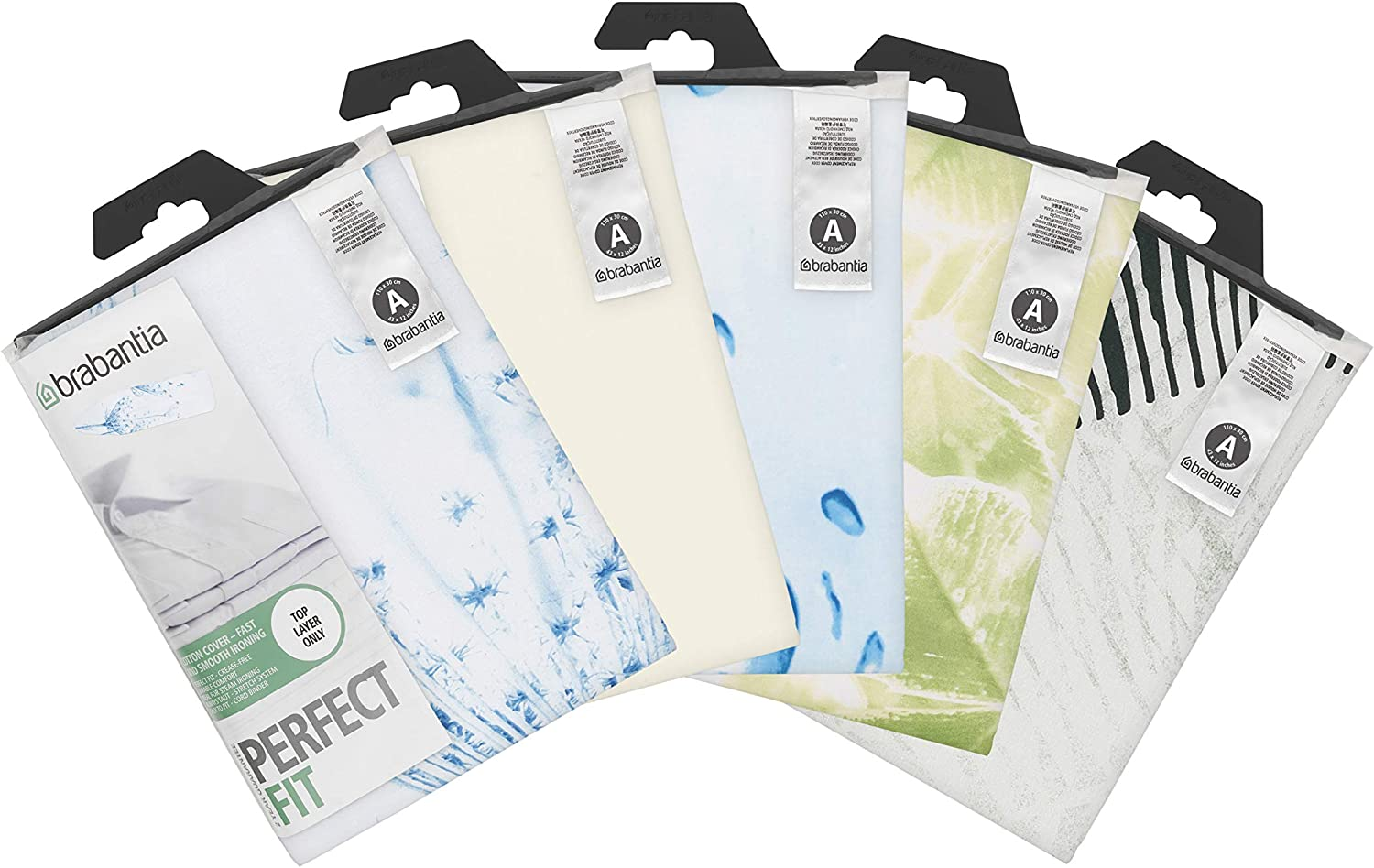 Brabantia Metallised Silver Ironing Board Cover with 2 mm Foam, L 110 x W 30 cm, Size A Neutral Assorted