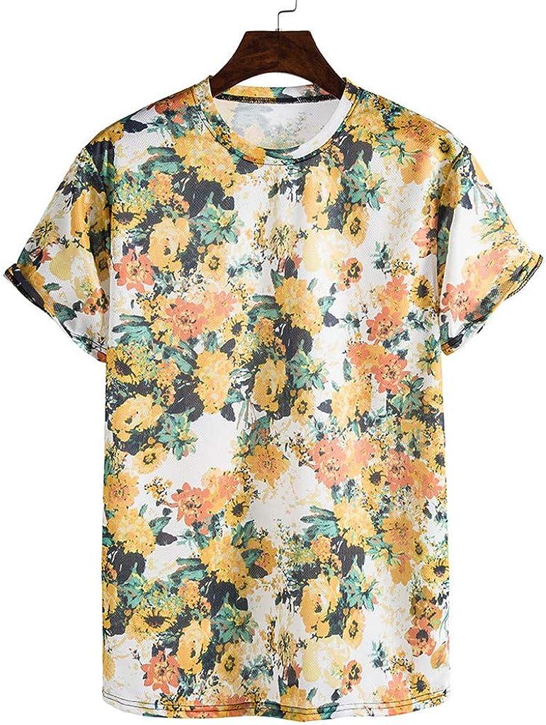 Landscap Mens Printed Short-Sleeved Shirt Tops Fashionable Comfortable T-Shirt Hawaiian Shirts Cool Summer Beach Shirt