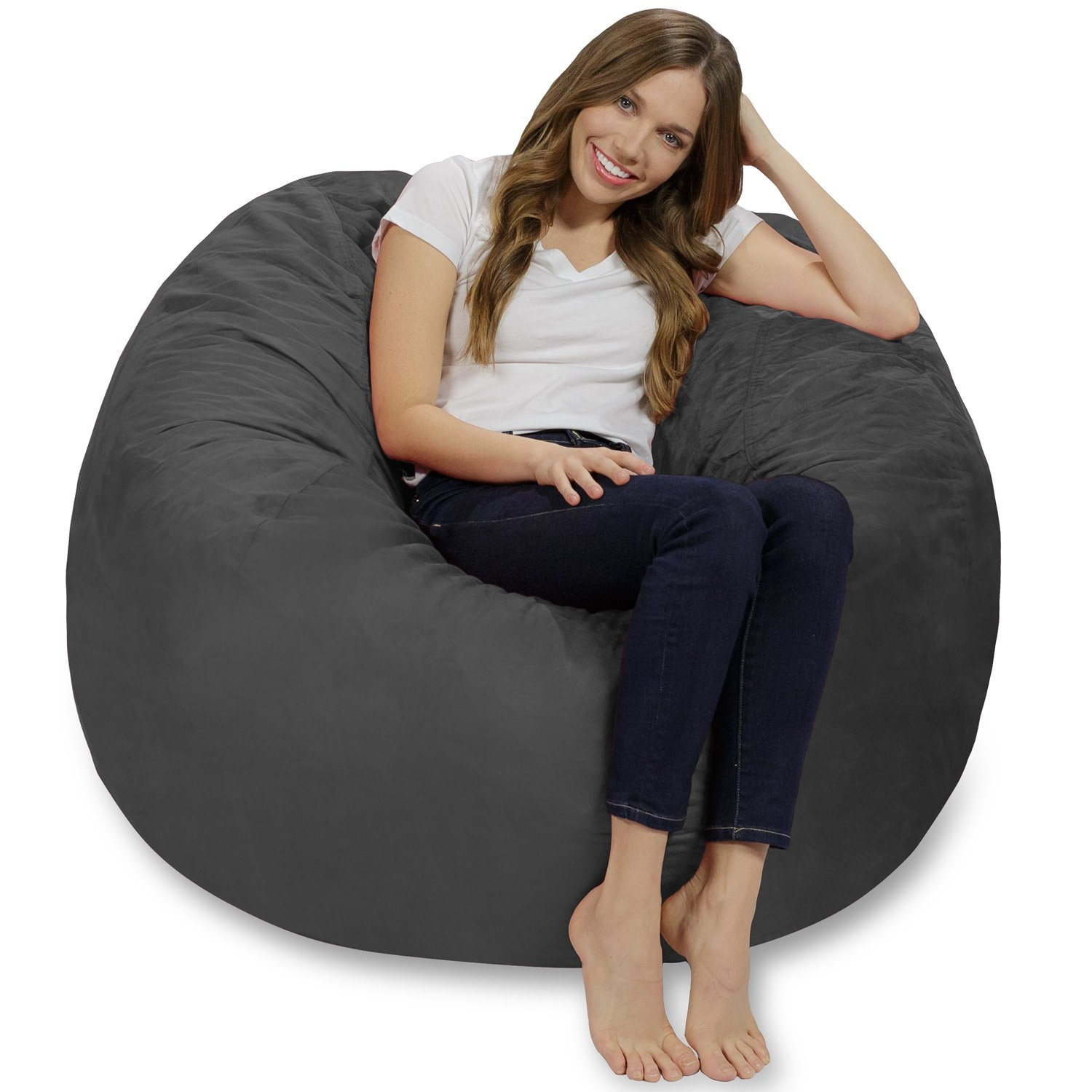 Merveilleux Chill Sack Memory Foam Bean Bag Chair, 4 Feet, Charcoal