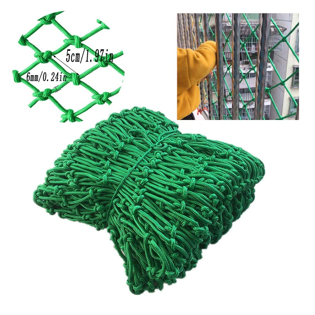 Green Child Safety Protection Rope Net Detachable Balcony and Climbing Stairs Railing Net Anti-cat Net Decoration Net Shatter-Resistant Net Multi-Size Optional (mesh 5cm / Rope Thickness 6mm)
