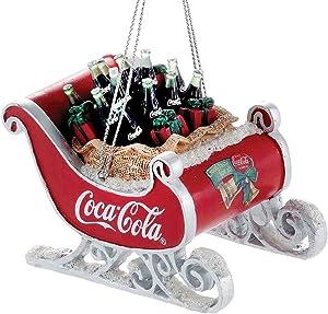 Coca-Cola Kurt Adler Resin Sleigh with Bottles Ornament #CC2155