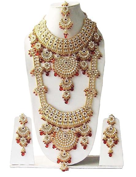c3c934098a5 Finekraft Kundan Zircon Wedding Style Complete Gold Plated Beautiful Bridal  Jewelery Set For Women  Amazon.in  Jewellery