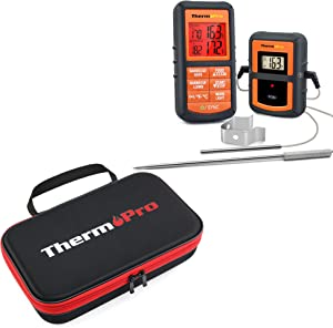 ThermoPro TP08S Wireless Remote Digital Cooking Food Meat Thermometer with ThermoPro TP99 Hard Carrying Case Storage Bag for TP-20, TP-08S, TP-07