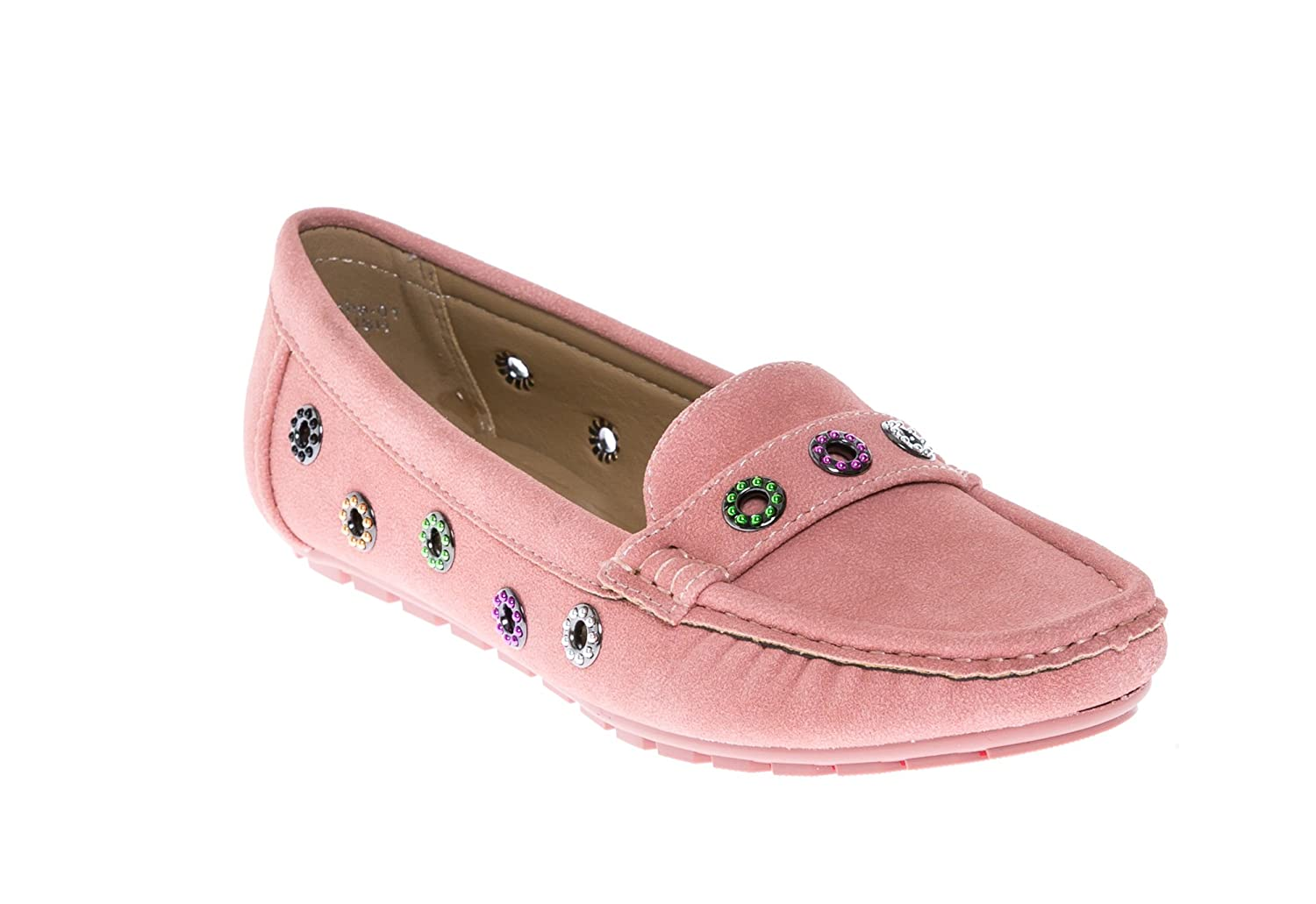 8c246cb04c3 CALICO KIKI Women s Comfort Faux Suede Studded Accent Slip-on Moccasins  Penny Loafers Boat Shoes Flats