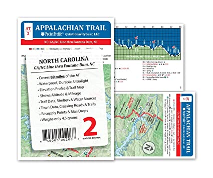 Amazon.com : Appalachian Trail Map AT-2 NC Line - Fontana Dam AT ...