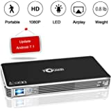 """TOUMEI,Mini Portable Projector [2018 Upgarde] C800W Android 7.1 Video Projectors Max Throw 120"""" Display,Smart Mobile Projector Support Wi-Fi for iPhone,iPad and Laptop"""
