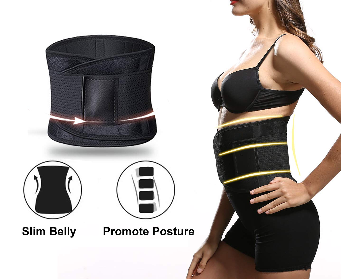Neoprene Hourglass Slimming Body Shaper,Compression Band Workout,Adjustable Back Support Elastic Waist Ab Cincher Trainer Trimmer whamz Upgraded Version Sweat Belt Waist Trainer for Women /& Men