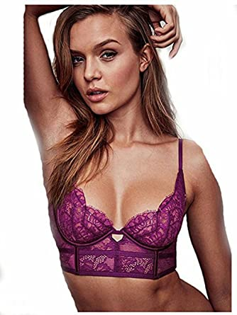c28ed949301a7 Image Unavailable. Image not available for. Color  Victoria s Secret Very  Sexy LACE Long LINE Bra(32D) Purple ...