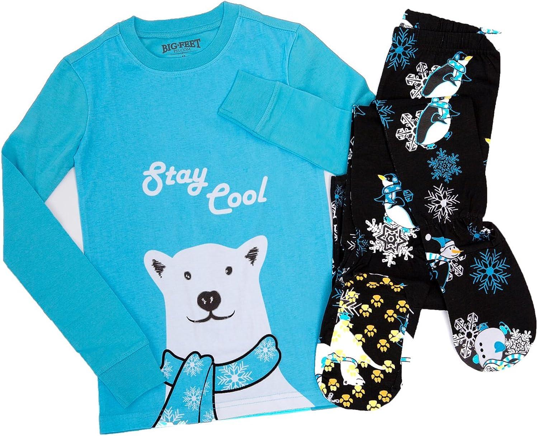 Big Feet Pijamas 2 Piezas Pijamas Footed Estancia Fresca Oso Polar