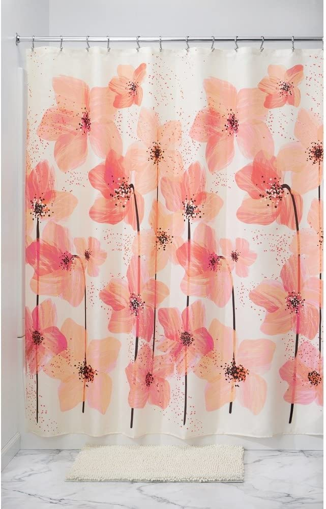 Riyidecor Flower Shower Curtain Panel Black and White Stripe Floral Wedding Rose Pink Herbs Decor Fabric Set Polyester Waterproof 72x78 Inch Free 12-Pack Plastic Hooks