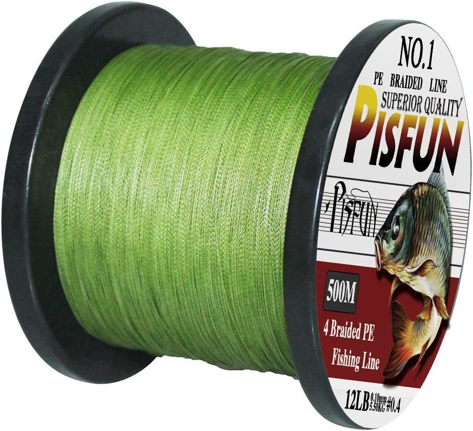 Pisfun Superpower 500M 547 Yard 1000M 1100 Yard Braided Saltwater Fishing Line 4 Strands 14-80LB Advanced Superline Green Orange Grey Yellow White Blue Color
