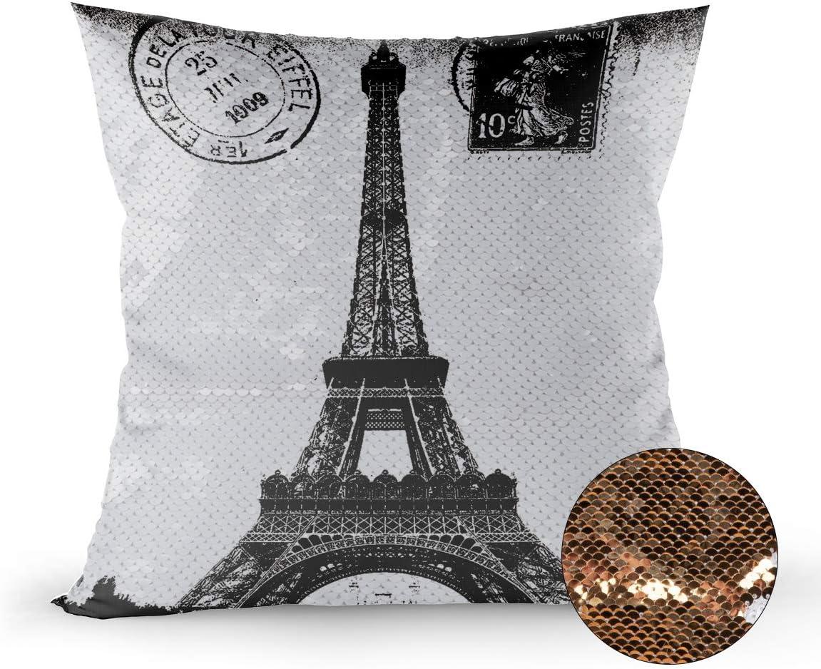 Retro Paris Eiffel Tower Pillow Cover Cotton Linen Home Decor Throw Pillowcase