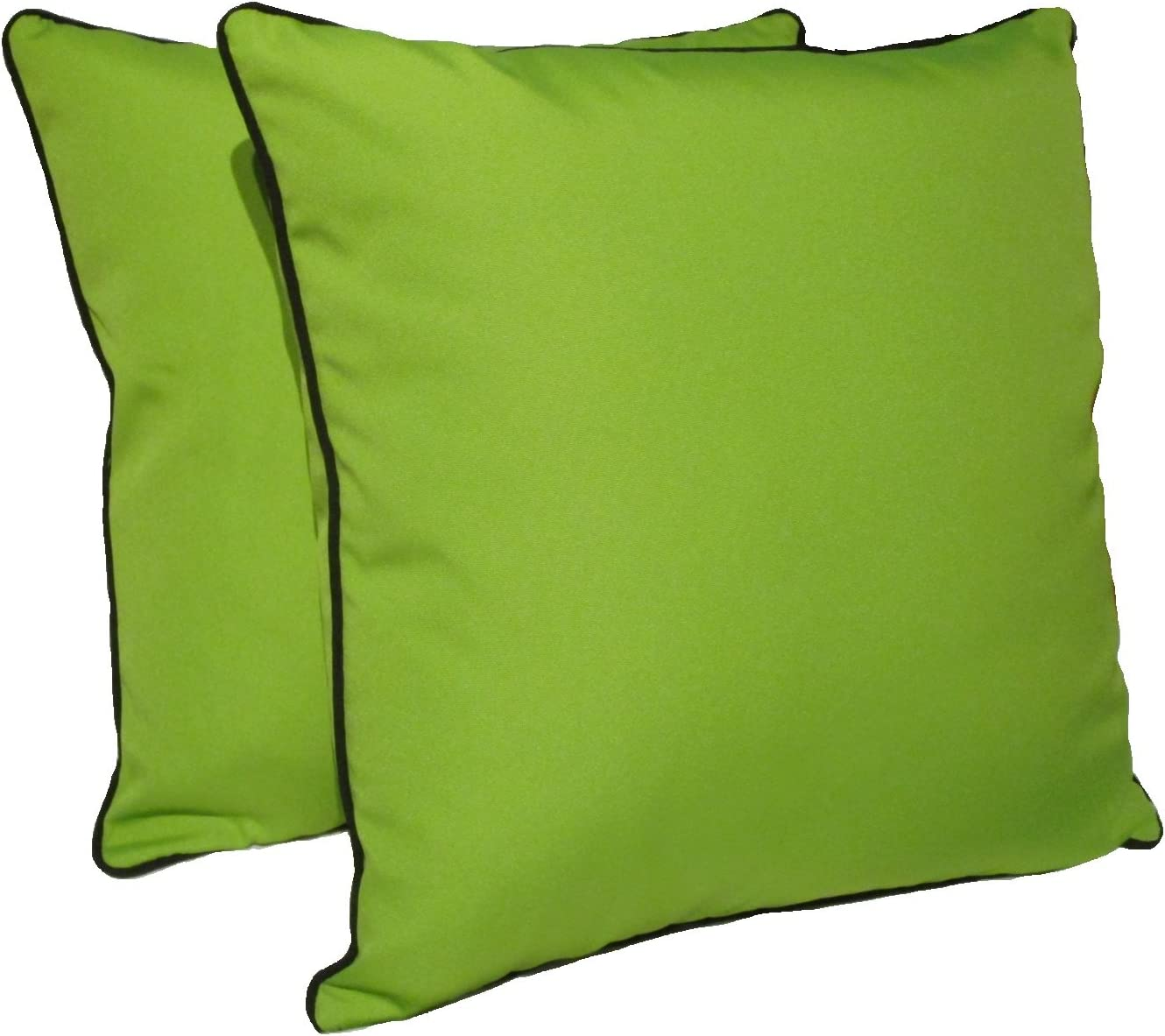 D M Bedding Polyester 18×18 Inches Indoor outdoor Decorative Throw Pillow w Black Piping, Set of 2, Green