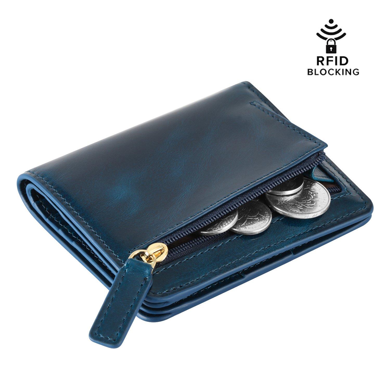 Kattee RFID Blocking Leather Bifold Small Wallet for Women