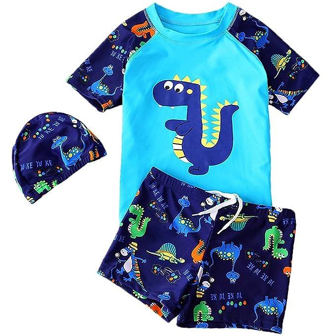 ed2fdba089 Goodkids Baby Kids Two Pieces with Caps Cotta Cartoon Dinosaur Swimwear Sun  Protection Boys Rashguard (