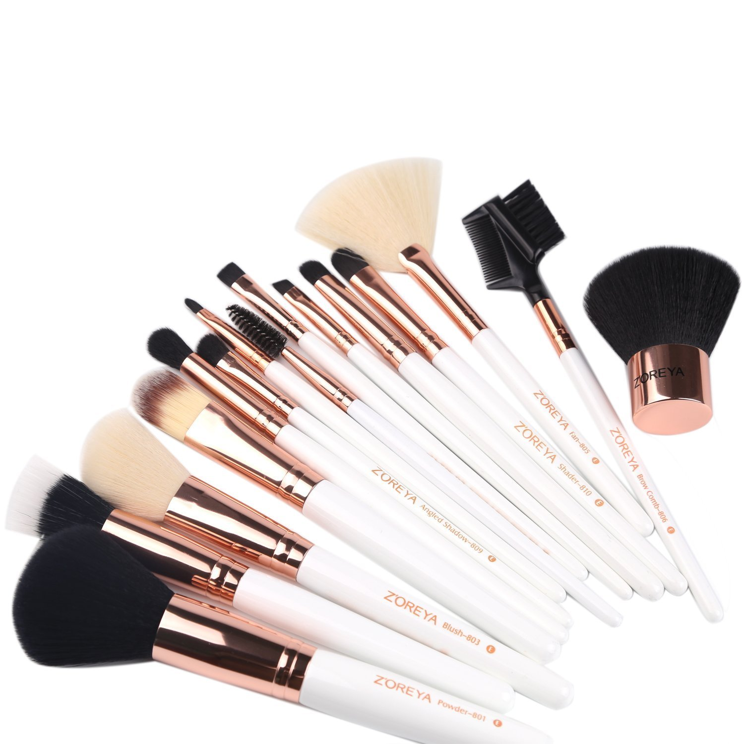 ZOREYA(TM) Makeup Brushes 15 Piece Rose Gold Professional Makeup Brush Set Kit with Free Leather Case Bag Cosmetic Contour Lip EyeShadow Powder Blending Fan Brush