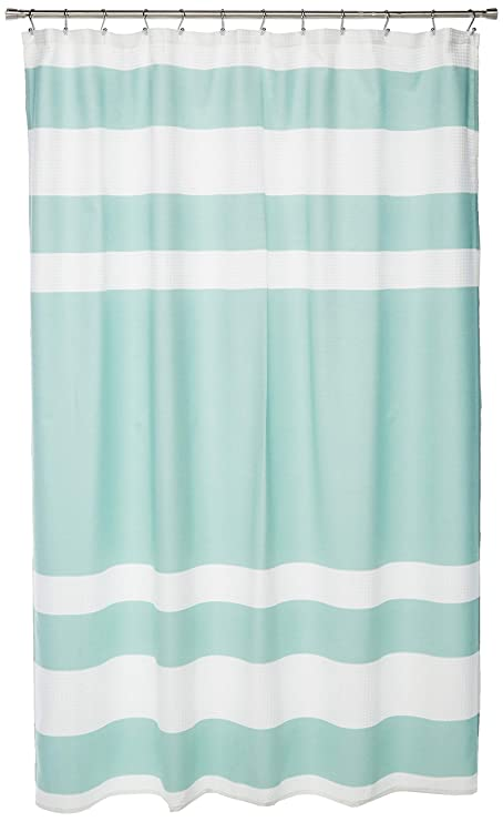 JLA Home INC Spa Waffle Weave Striped Fabric Shower Curtain Classic Curtains For Bathroom