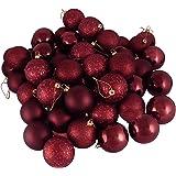 "60ct Burgundy Shatterproof 4-Finish Christmas Ball Ornaments 2.5"" (60mm)"