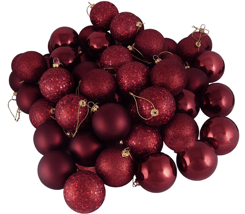 Amazon.com: 60ct Burgundy Shatterproof 4-Finish Christmas Ball ...