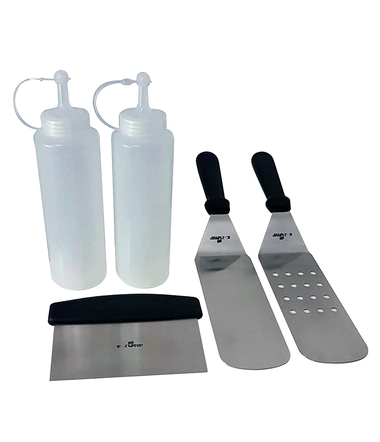 5 Piece BBQ Grill and Griddle Tool Kit from E-Z Grip, 2 Spatulas, 1 Chopper, 2 Condiment Dispensers, Perfect for both Outdoors and Indoors, Professional Grade Stainless Steel