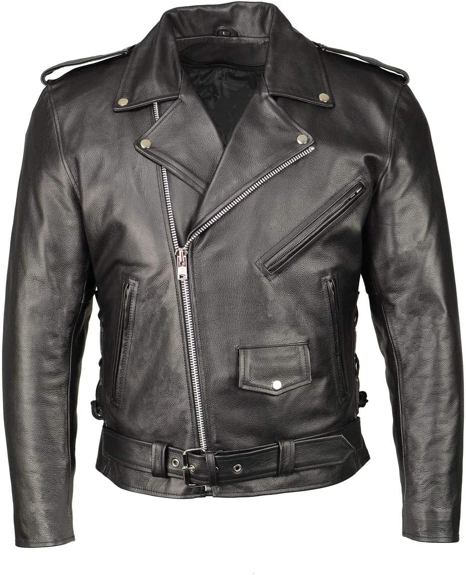 M Boss Motorcycle Apparel BOS11507 Men's Black Leather Armored Classic Side Lace Biker Jacket - 4X-Large