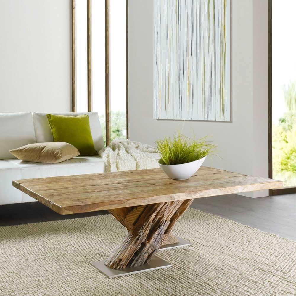 Sala de estar de la mesa de con traviesas de madera de teca de madera maciza Pharao24, madera, Teakfarben, 001: 110;: Amazon.es: Hogar