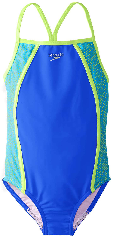Speedo Big Girls' Mesh Thin Strap One Piece Swimsuit, Deep, 16 Speedo Girls 7-16 7142318