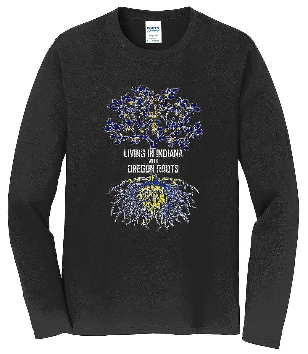 Tenacitee Mens Living in Indiana Oregon Roots T-Shirt