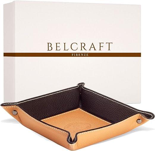 Belcraft Luni Vaciabolsillos de Piel Italiana, Hecho a Mano, Incluye Caja, Marrón Claro (19x19 cm): Amazon.es: Hogar