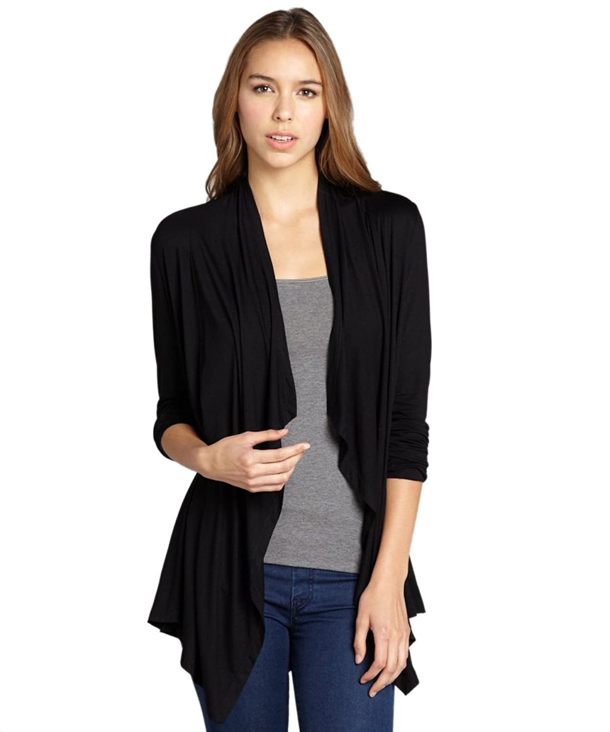 eVogues Women's Longline Drape Front Cardigan Black at Amazon ...