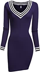 ACEVOG Women's V-Neck Long Sleeve Basic Knit Sweater Bodycon Mini Dress