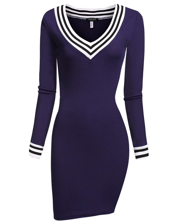 665b09b3a06a Amazon.com  ACEVOG Women s V-Neck Long Sleeve Basic Knit Sweater Bodycon  Mini Dress  Clothing