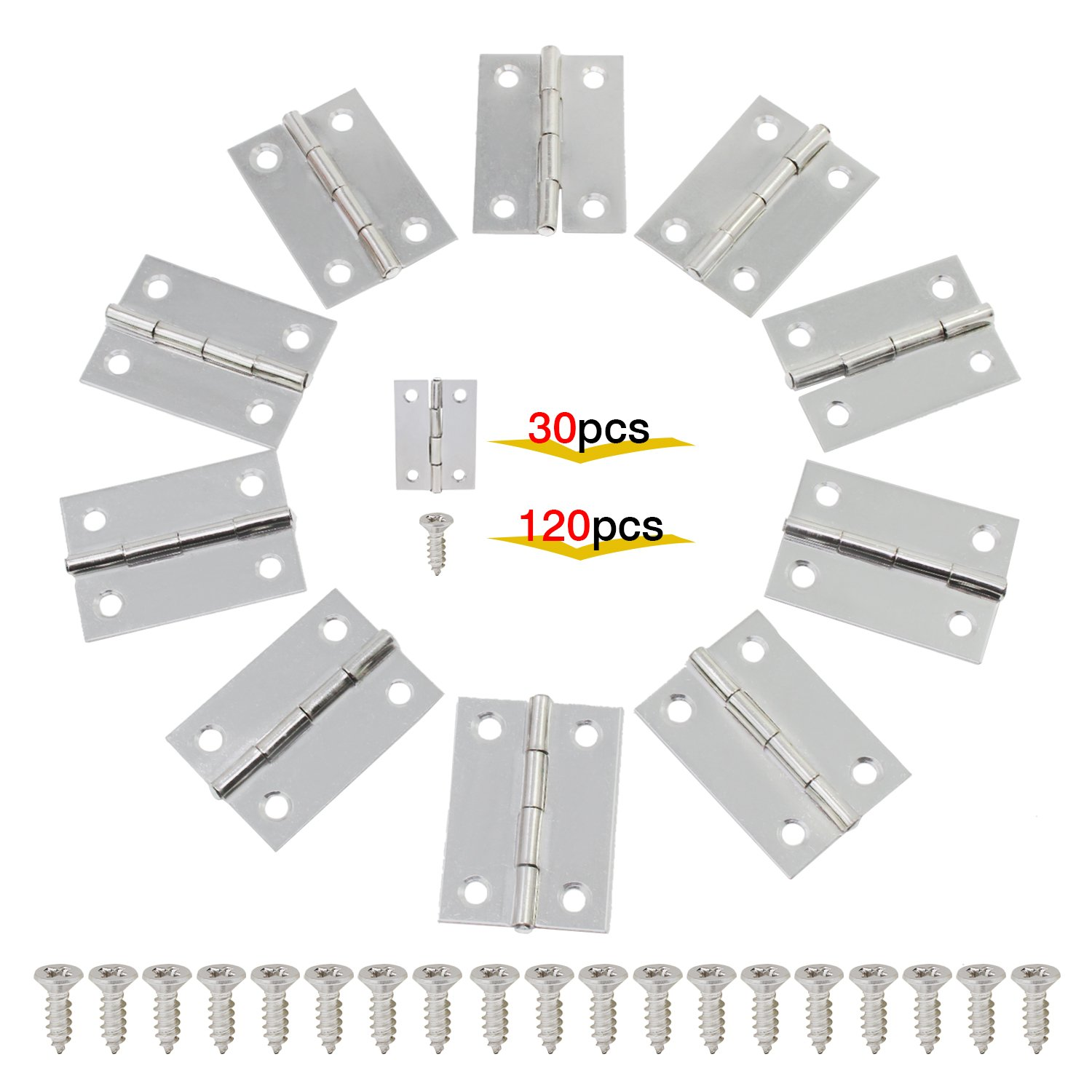 OCR 30PCS 2Inch Folding Butt Hinges Stainless Steel Home Furniture Hardware Cabinet Hinges with 120PCS Screws(2inch 30pcs) by OCR (Image #1)