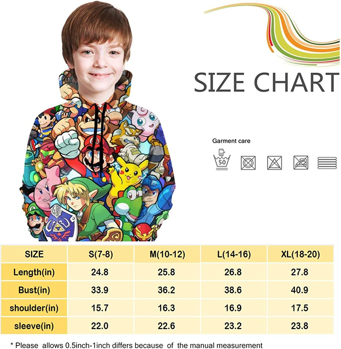 The Legend of Zelda Sonic Pikachu Super Mario Smash Bros Kirby Teens Hoodie Print Pullover Personalised Hoodies Seatshirts Sweater for Boys Girls Teen Kids