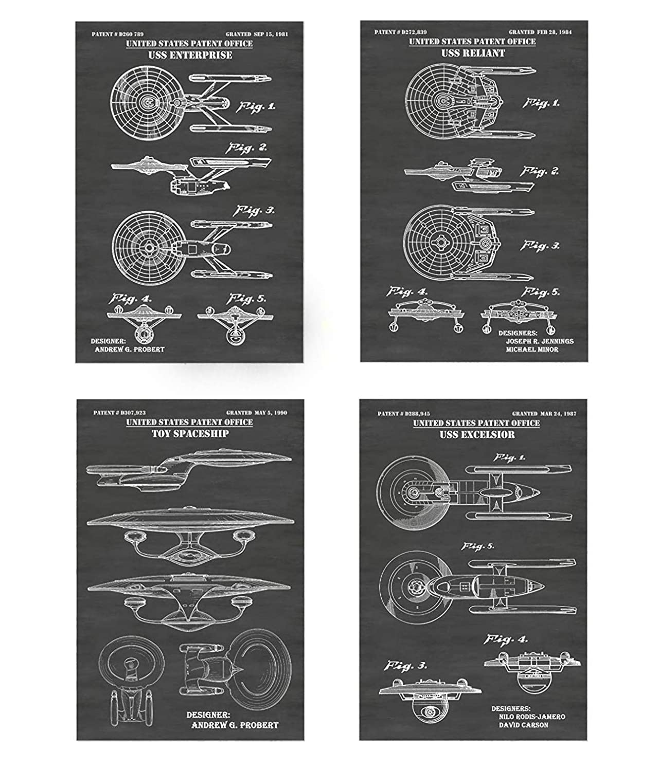 USS Reliant /& USS Excelcior Wall Decor Collection Star Trek Starfleet Starships USS Enterprise A /& D Choose From Multiple Size and Background Color Options Set of Four Patent Print Art Posters