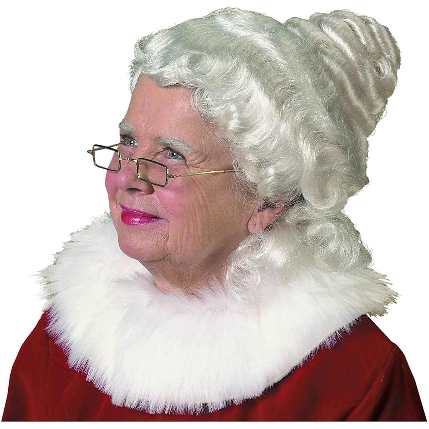 Adult Mrs. Claus White Curly Bun Wig - DeluxeAdultCostumes.com