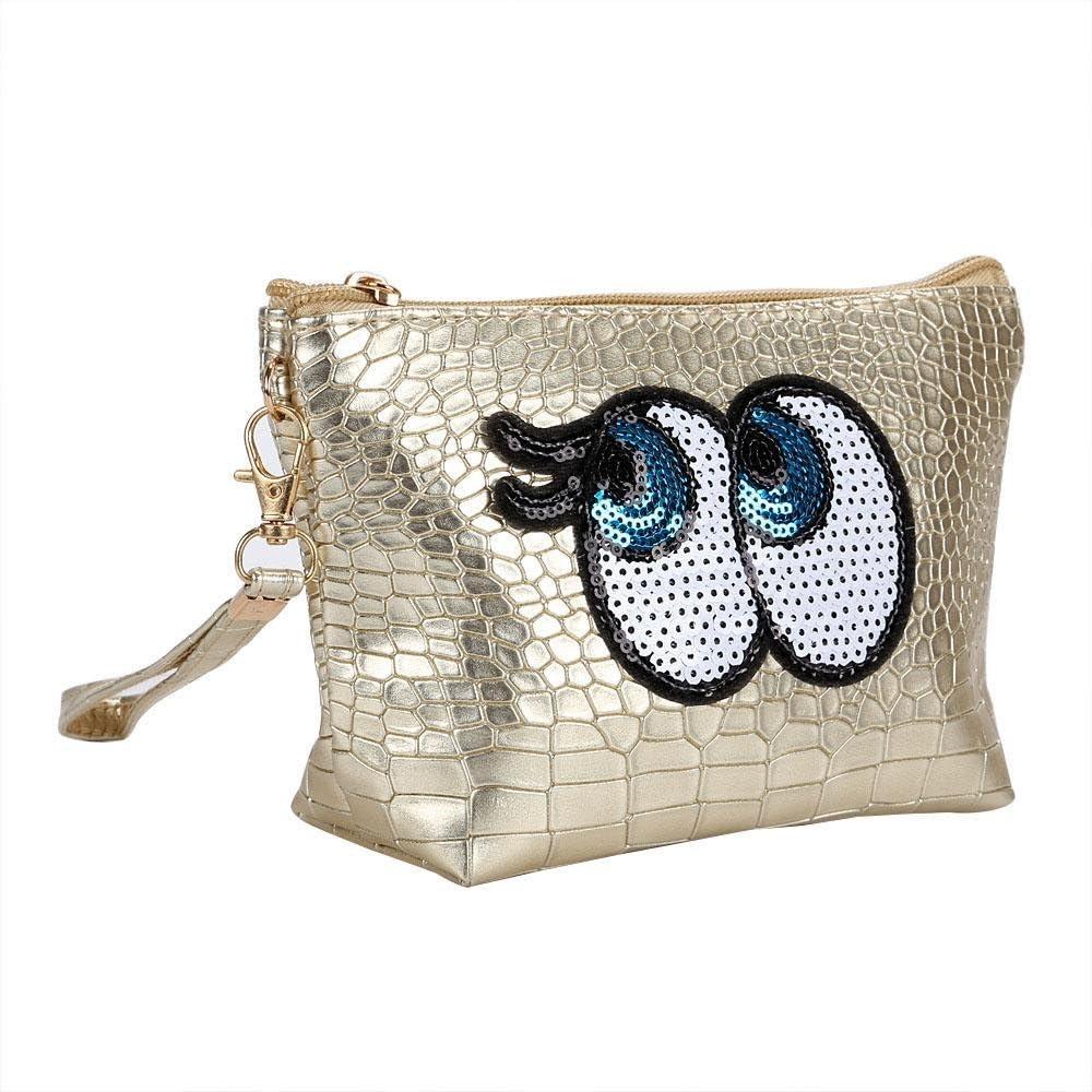 Pawaca Trousse /à maquillage pratique 1 pc dessin anim/é mignon yeux trousse de maquillage femme fermeture /éclair sac organiseur