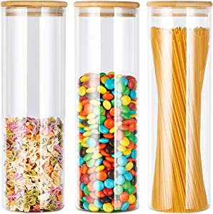 3pc Glass Kitchen Canister Set with Airtight Bamboo Lids, High Borosilicate Glass Kitchen Canisters for Pantry, Airtight Glass Food Storage Containers for Coffee, Flour, Candy, Cookies. 50 OZ(1.5L)