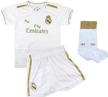Champions City Conjunto Complet Infantil Real Madrid Réplica Oficial Licenciado de la Primera Equipación Temporada 2019-2020 Dorsal Liso: Amazon.es: Deportes y aire libre