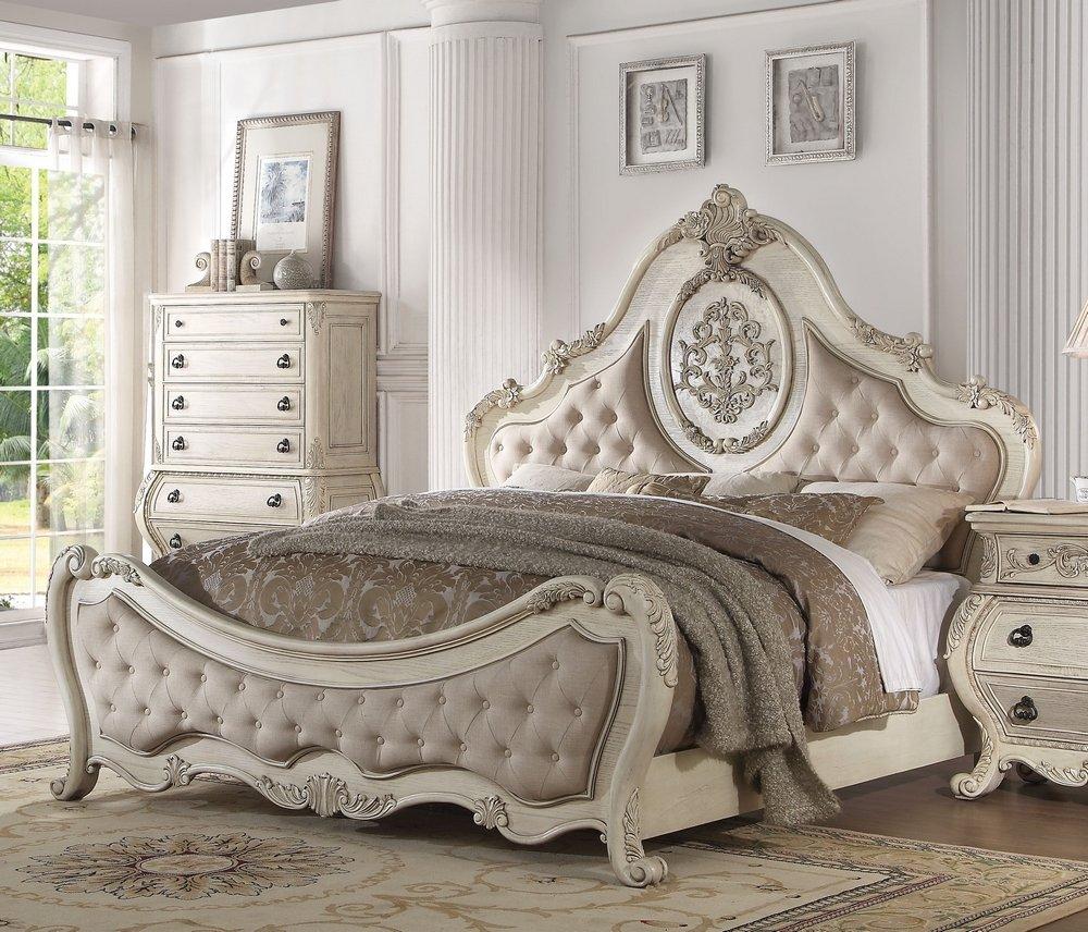 Acme Furniture 27004CK Ragenardus Bed, California King, Fabric/Antique White